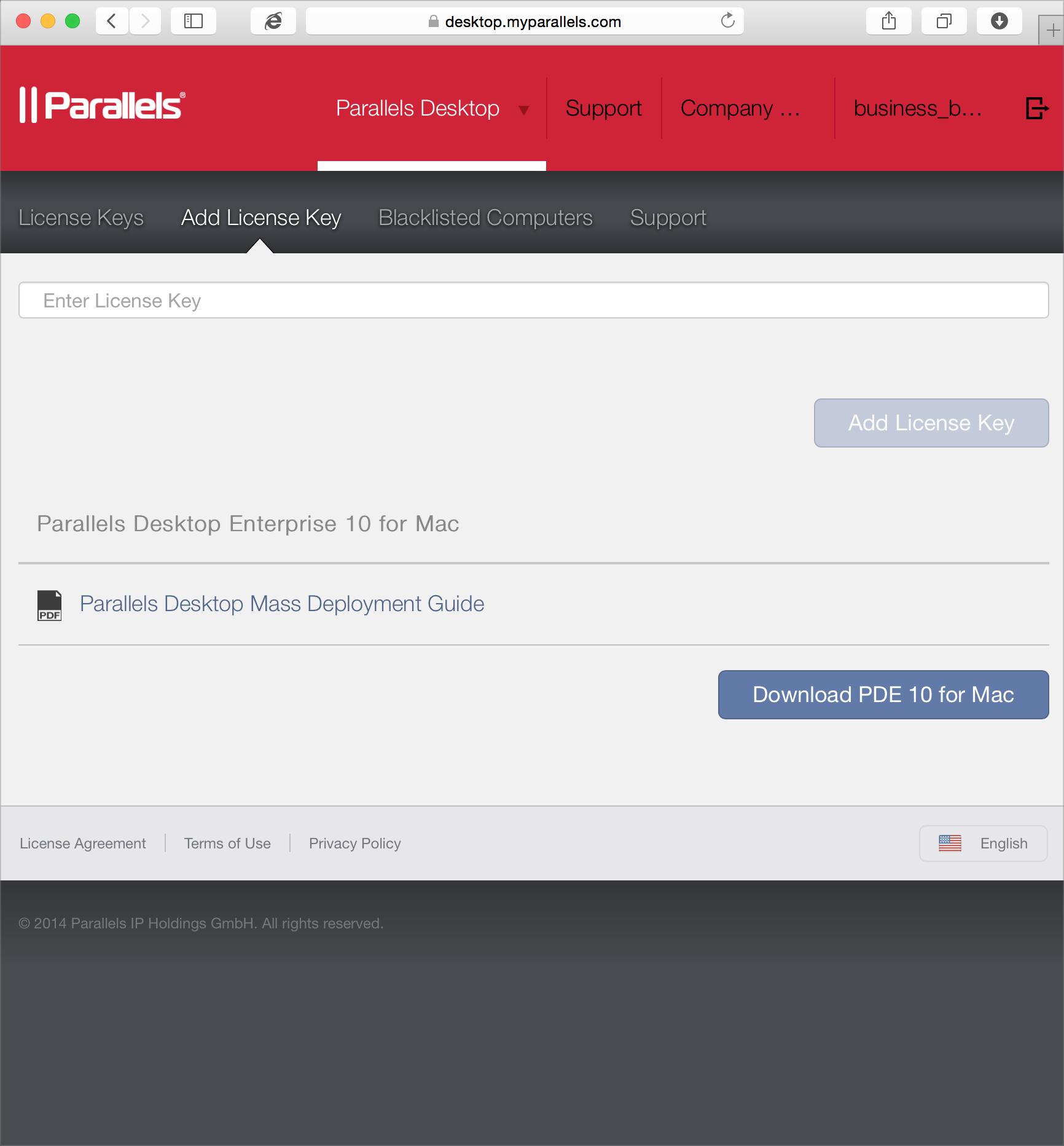 Adding Parallels Desktop Enterprise License Keys