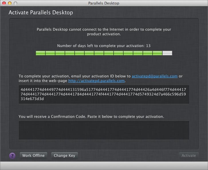 Чтобы активировать Parallels Desktop без подключения к Интернету, воспользу