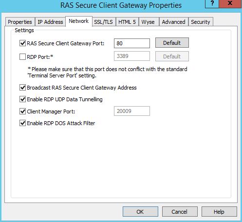 Configuring RAS Secure Client Gateway Network Options