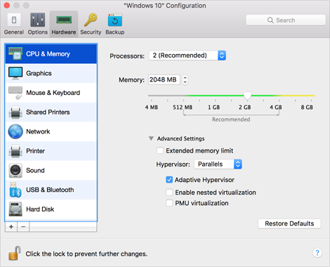 CPU & Memory Settings